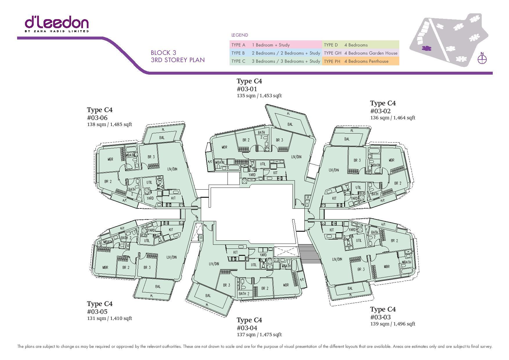 D'Leedon Block 3rd Storey Floor Plans