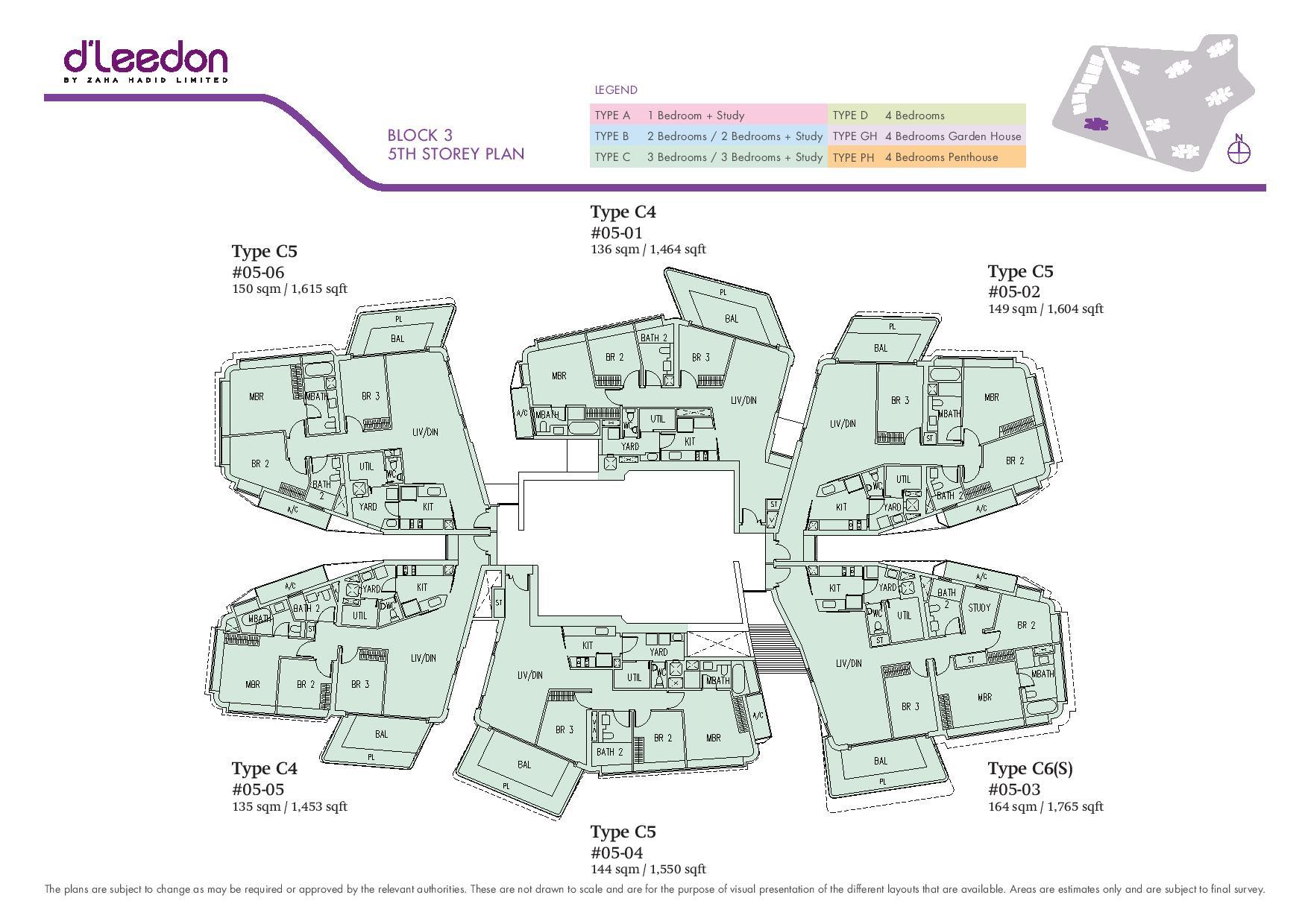 D'Leedon Block 5th Storey Floor Plans
