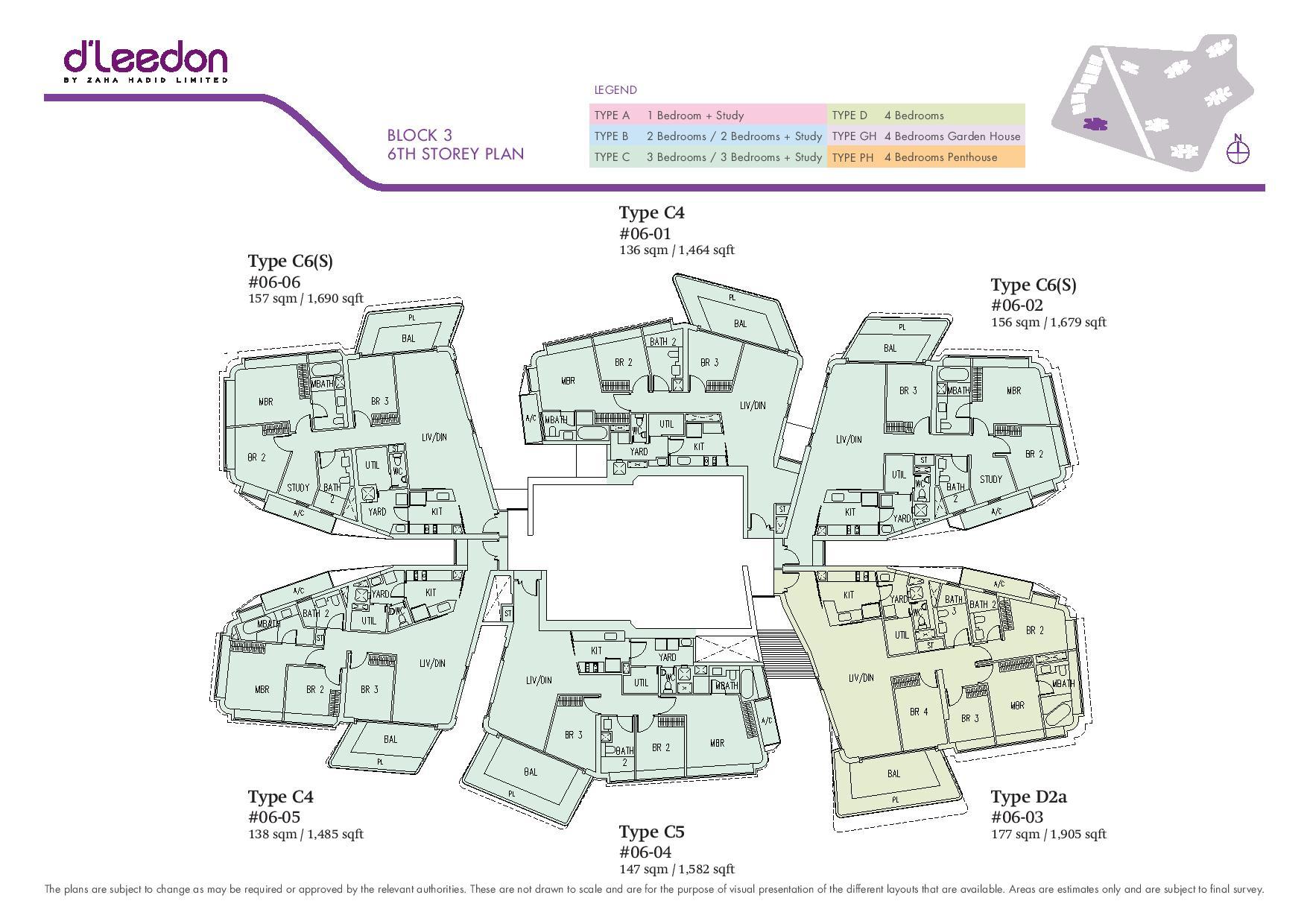 D'Leedon Block 6th Storey Floor Plans