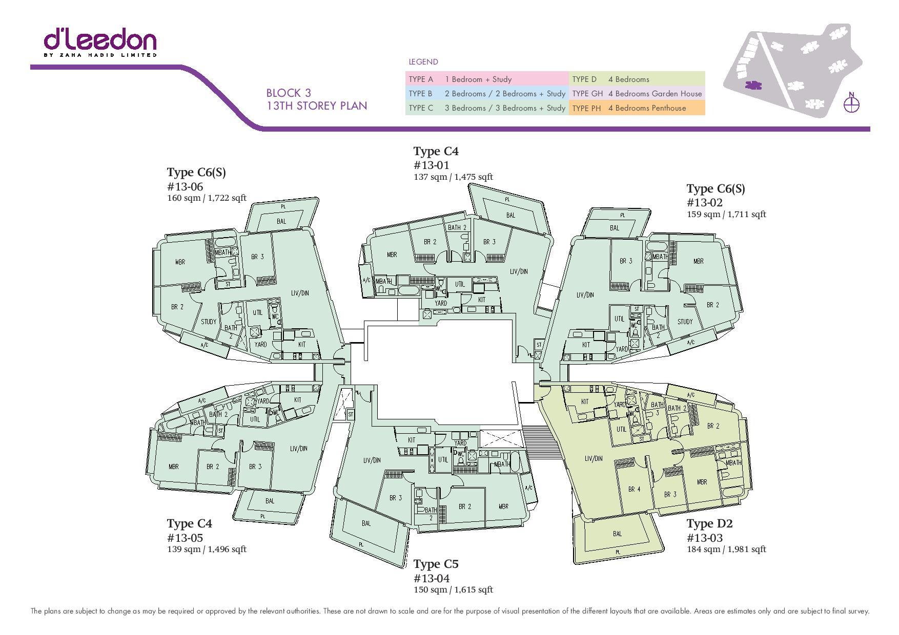 D'Leedon Block 13th Storey Floor Plans