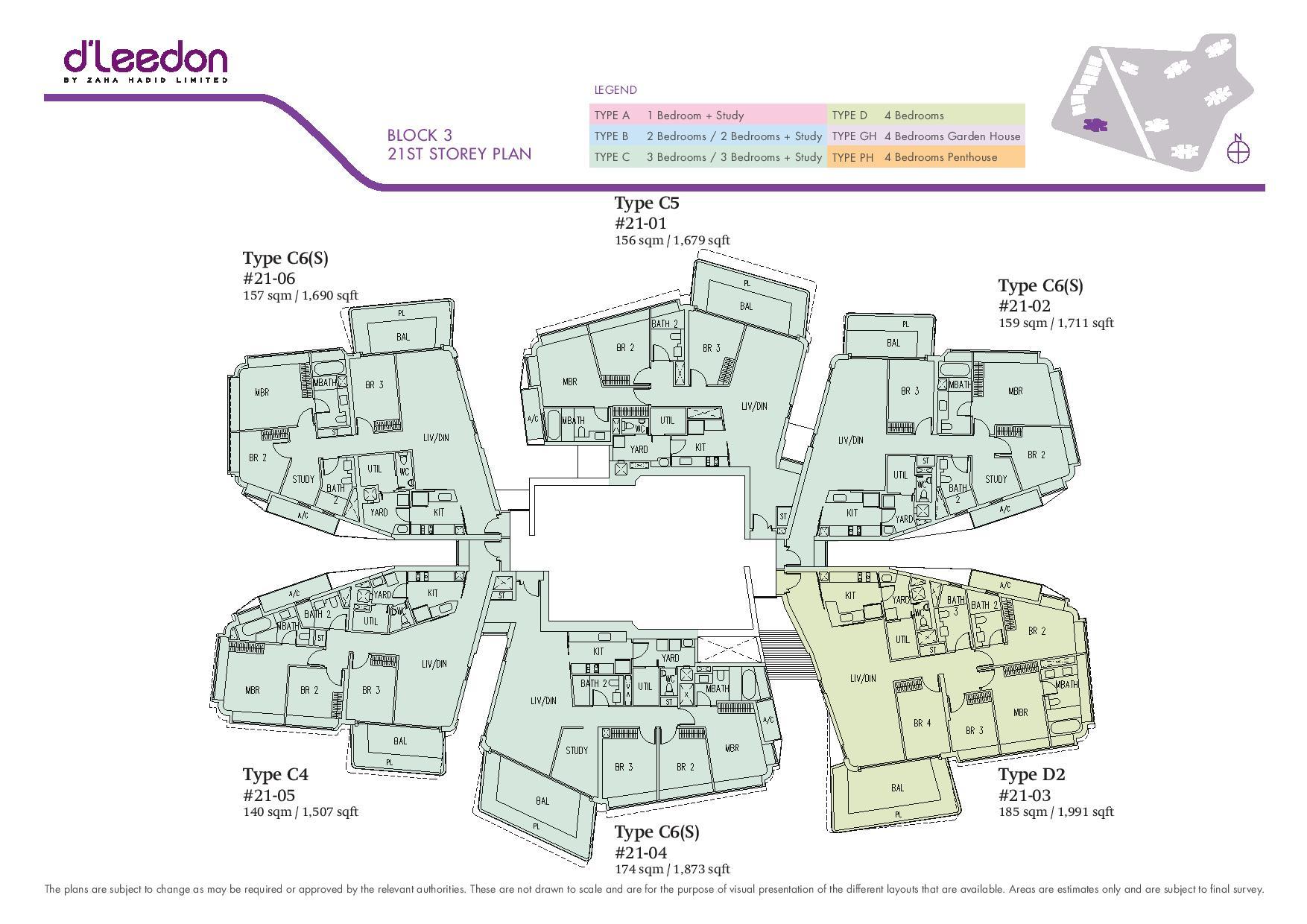 D'Leedon Block 21st Storey Floor Plans