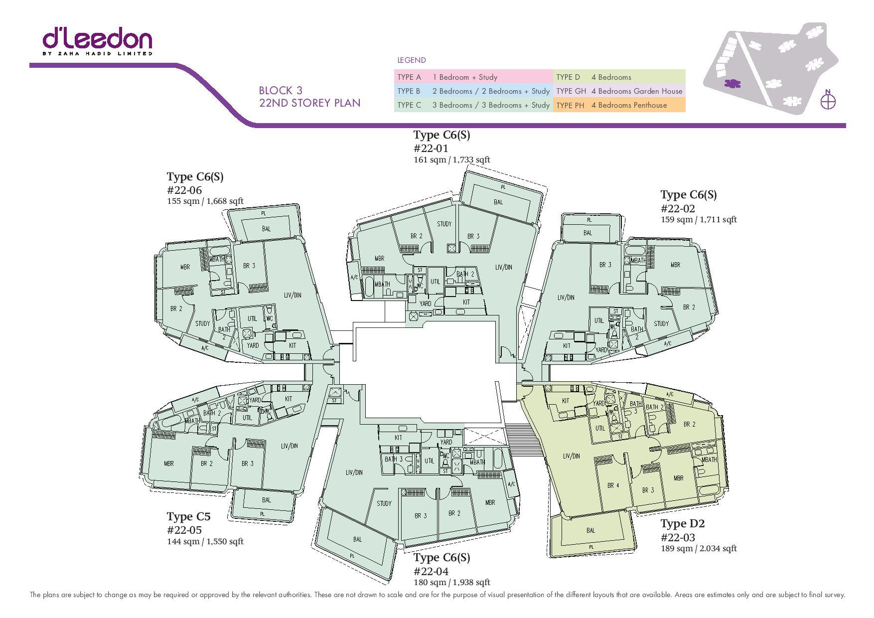 D'Leedon Block 22nd Storey Floor Plans