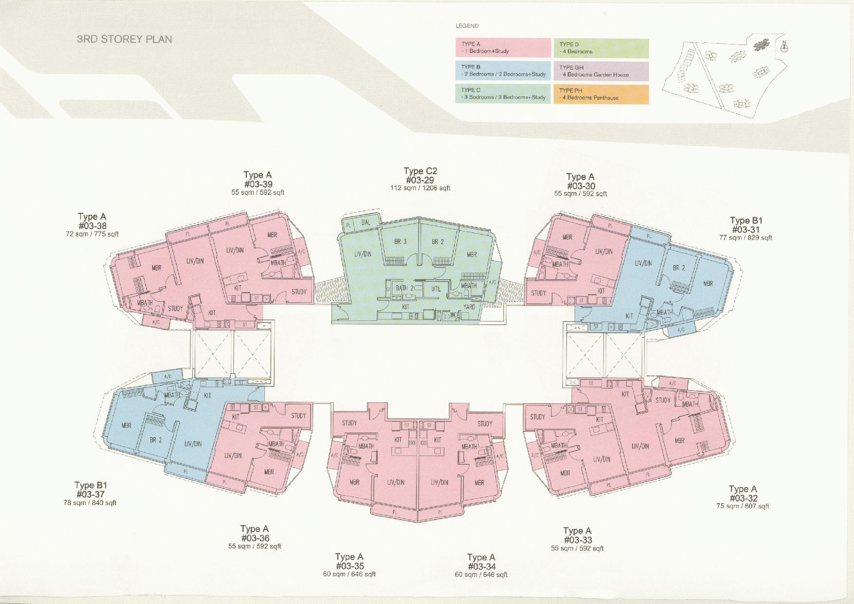 D'Leedon Block 11 3rd Storey Floor Plans